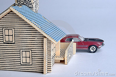 House model and a red car toy