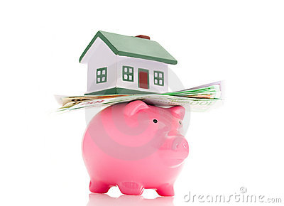 House, money and piggy bank
