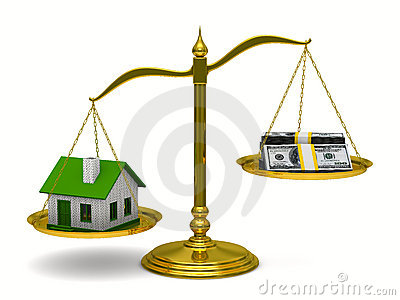 House and money on scales. Isolated 3D