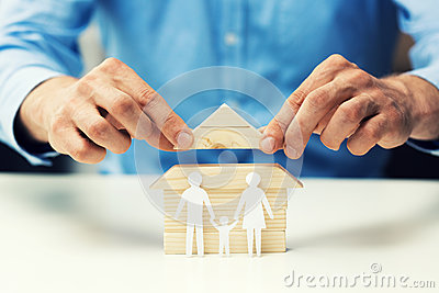 house mortgage concept - salesman help family to get new home Stock Photo