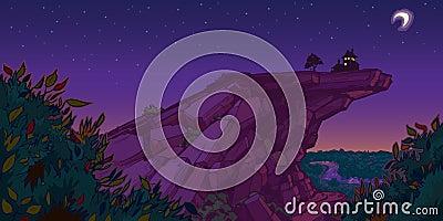 House on Mountain Evening Scene