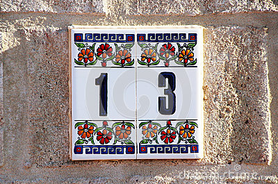 House Number 13 in Tiles