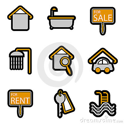 House object icon set vector