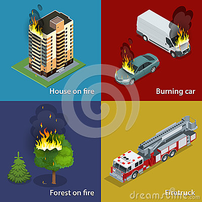 Free House On Fire, Burning Car, Forest On Fire, Firetruck. Fire Suppression And Victim Assistance. Isometric Vector Royalty Free Stock Photos - 66457688