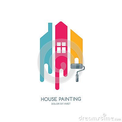 Free House Painting Service, Decor And Repair Multicolor Icon. Vector Logo, Label, Emblem Design. Royalty Free Stock Photos - 78842768