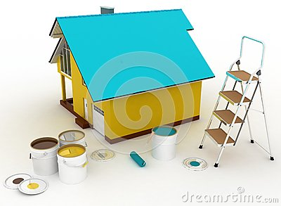 House with paints and step-ladder