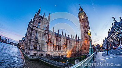 The House of Parliament and the Big Ben in London at sunset Editorial Photography