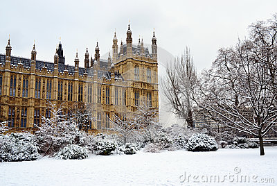 House of Parliament & snow, London