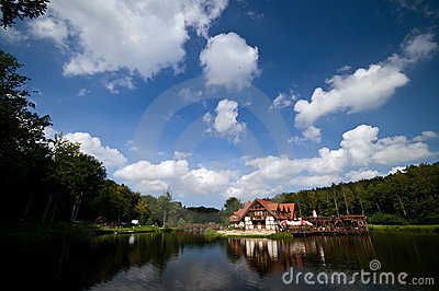 House by picturesque lake