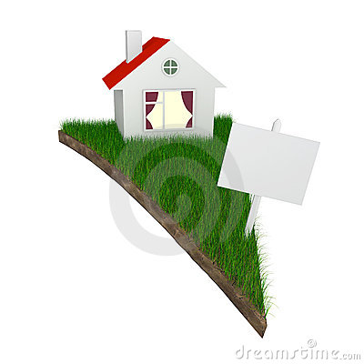 House on piece of land with grass
