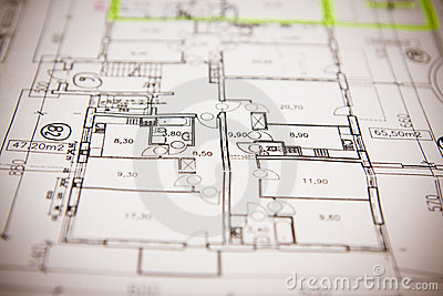 House plan blueprints close up