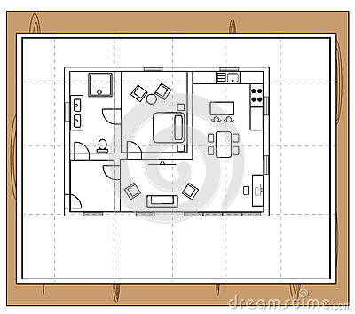 House plan stock vector image 59089890 for Living room bedroom bathroom kitchen