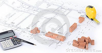 concept of an architect planning a house