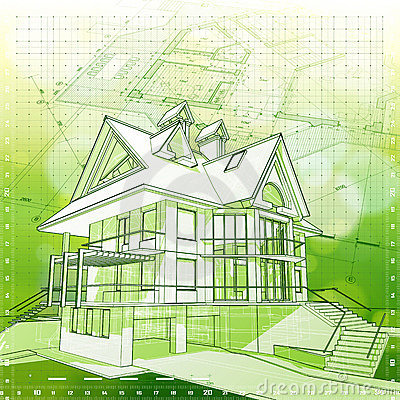 House, plans & green background