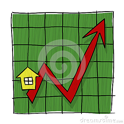 House Prices Going Up Illustrated Graph