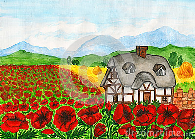 House with red poppies, painting