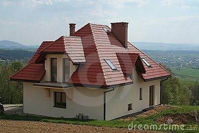 House with red roof
