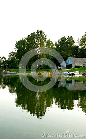 A House reflected on a lake
