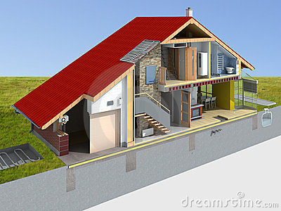 House rendering in section