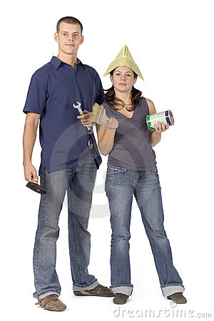 House renovation - couple with tools and paint