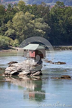 House On Rock Drina River Stock Photo Image 70230067