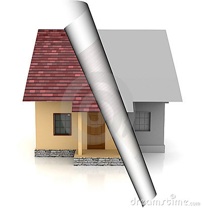 House on sale over white background