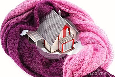 House with a scarf. photo icon insulation