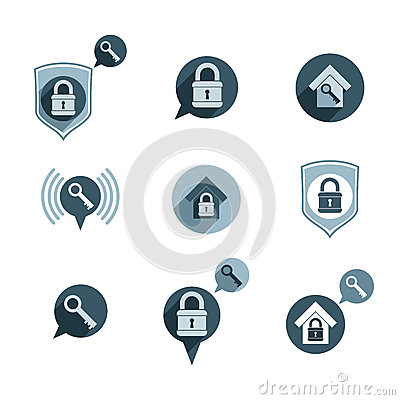 House security protection vector icons set, home, house, padlock