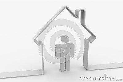 House shape with man inside