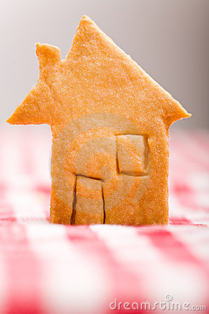 House shaped christmas cookie on