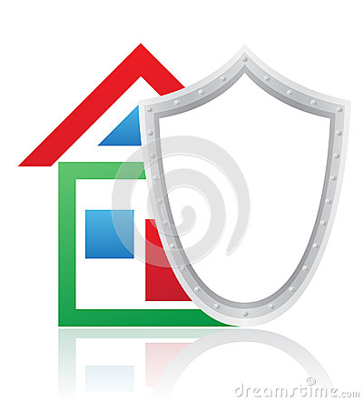 House and shield concept vector illustration