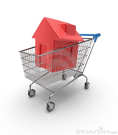 Free House Shopping Cart Royalty Free Stock Image - 8860896
