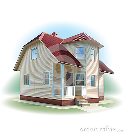 House with siding trim. Detailed illustration.