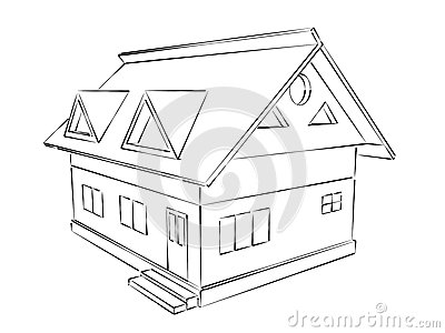 Phenomenal Simple House Sketch Royalty Free Stock Photo Image 12911715 Largest Home Design Picture Inspirations Pitcheantrous