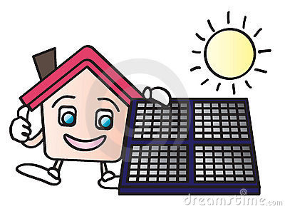 House solar energy cartoon