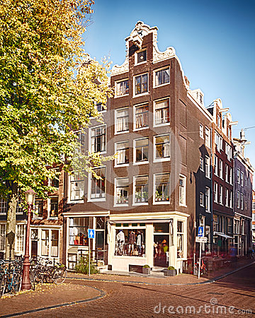 House and street in Amsterdam
