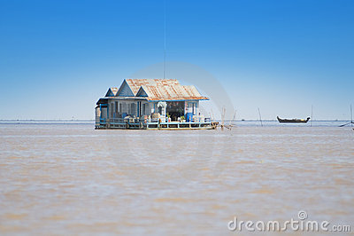 House on Tonle Sap lake. Cambodia Editorial Stock Image