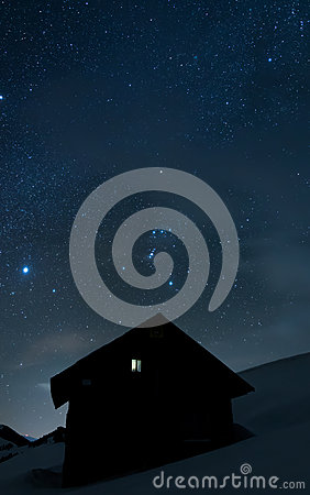 Free House Under The Stars Stock Image - 88410551