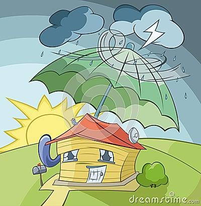 The house under umbrella