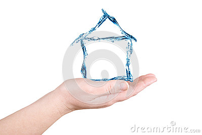 The house and water on a palm. Water figures