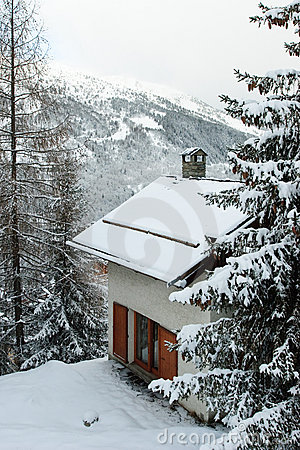 House in a winter mountain