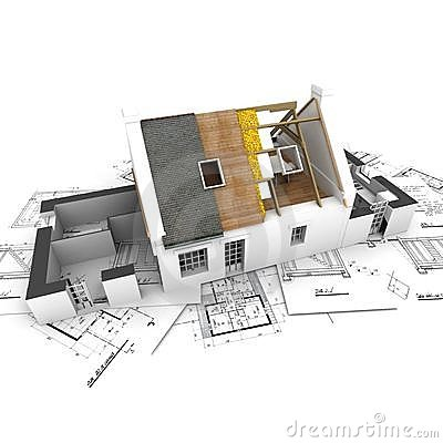 Free House With Exposed Roof Layers And Plans Royalty Free Stock Photography - 4371757