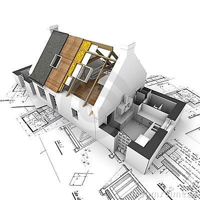 Free House With Exposed Roof Layers And Plans Stock Photography - 4371762