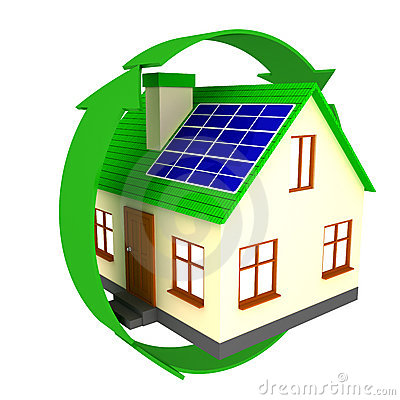 Free House With Solar Panels Stock Images - 17354074