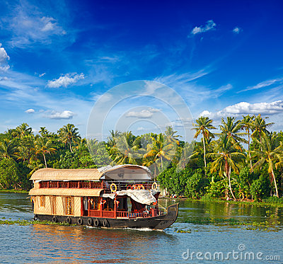 Free Houseboat On Kerala Backwaters, India Royalty Free Stock Photo - 25166535