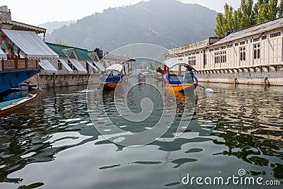 Houseboats in Dal lake, Srinagar Editorial Stock Image