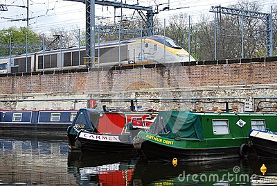 Houseboats moored in St Pancras Basin, Regent s Canal Editorial Photo