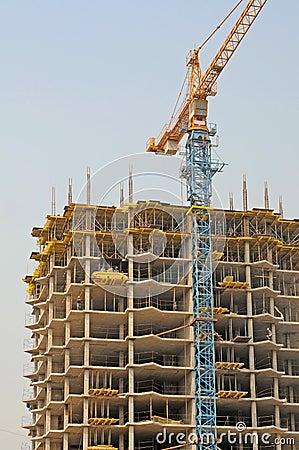 Housebuilding and crane