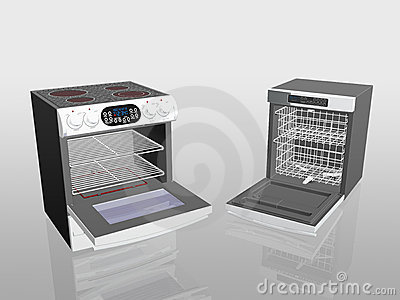 Household appliances, cooker, stove, dish washer.