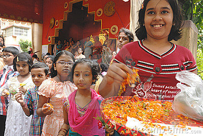 Household Durga Festival of Kolkata Editorial Stock Image